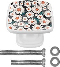 Square Cabinet Knobs Pulls Daisy Flower Crystal