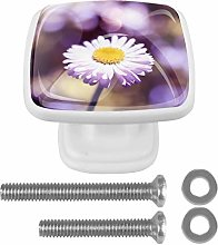Square Cabinet Knobs Pulls Lilac Floret Crystal