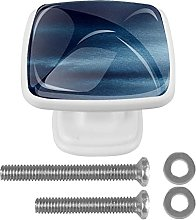 Square Cabinet Knobs Pulls Navy Blue Crystal Glass