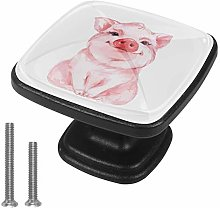 Square Cabinet Knobs Pulls Piggy Cute Crystal