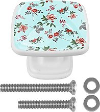 Square Cabinet Knobs Pulls Red Flowers Crystal