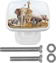 Square Cabinet Knobs Pulls Safari Animals Crystal