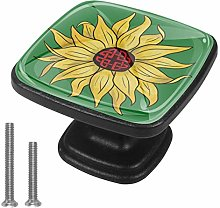 Square Cabinet Knobs Pulls Yellow Chrysanthemum