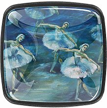 Square Cabinet Knobs Swan Lake Ballet Painting