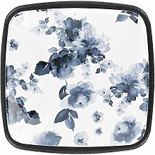 Square Cabinet Knobs Watercolor Flowers Indigo