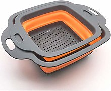 Square Collapsible Colander Set,2 Collapsible