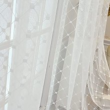 Square Embroidery Voile Curtain Simplicity