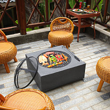 Square Fire Pit Outdoor Heater Garden Barbecue