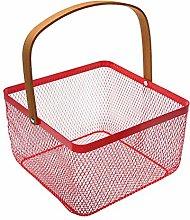 Square Fruit Basket 24x24x15 cm. red