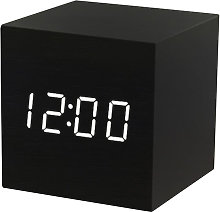 Square LED sound-activated digital wooden alarm
