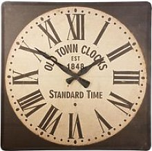 Square Linen, Cotton and Metal Clock 140x140