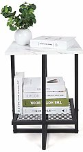Square Marble Side Table,2-Tier Side Table Coffee