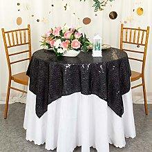 Square Table Cloth 50x50-Inch Black Sequin