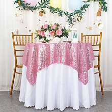 Square Tablecloth Pink Gold Sequin Tablecloth