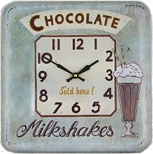 Square Tin Wall Clock, Chocolate Design - 31cm
