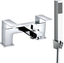Square Twin Filler Mixer Tap & Bath Filler Hand