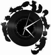 Squirrel Vinyl Wall Clock, Vinyl Record Home