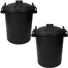 Srendi® 2 x 50L LITRE BLACK BINS DUSIT BIN/GARDEN
