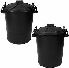 Srendi® 2 x BLACK 50L Litre Heavy Duty Plastic