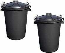 Srendi® 2 x Large 85L Litre Black Plastic Bin