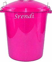Srendi® 50L Outdoor Garden Plastic Bin with Metal