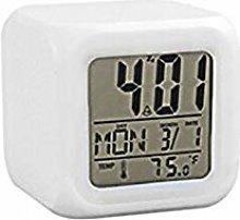 SRQOESFF Alarm Clock 7 Color LED Digital Alarm