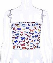 Sscbxz Women Top Butterfly Pattern Print Cotton