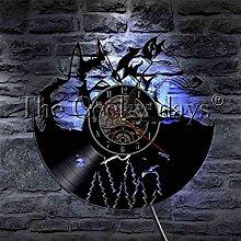 SSCLOCK Gray wolf couple vinyl record wall clock