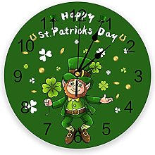 St. Patricks Day Silent Non Ticking Wall Clock,