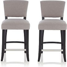 Stacia Bar Stools In Grey Fabric And Black Legs In
