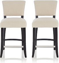 Stacia Bar Stools In Linen Fabric And Black Legs