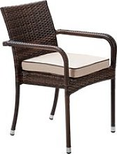 Stacking Rattan Garden Chair in Brown - Roma -