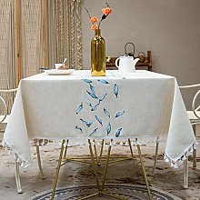 Stafeny Tasseled Cotton And Linen Table Cloth,