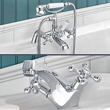 Stafford victorian Bath Shower Mixer & Basin Mono
