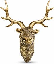 Stag Deer Head Wall Sculpture Gold | M&W - Bronze