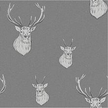 Stag Wallpaper Woven Effect Grey Silver Metallic