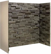 Staggered Black Slate Fireplace Chamber