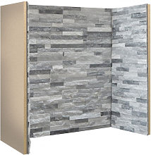 Staggered Grey White Slate Fireplace Chamber