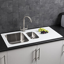 Stainless 1.5 Bowl Kitchen Sink with White Glass Surround and Drainer