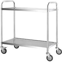 Stainless Steel 2 Tier Rolling Kitchen Service