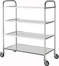 Stainless Steel 4 Tier Rolling Kitchen Service