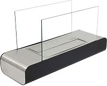 Stainless steel and black floor fireplace