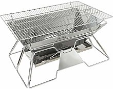 Stainless Steel Charcoal Barbecue Grill, Foldable