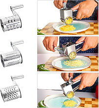 Stainless steel cheese grinder, hand-cranked