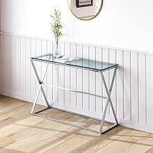 Stainless Steel Glass Top Hallway Console Table