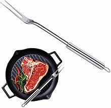 Stainless steel grill fork with oval handle. Long
