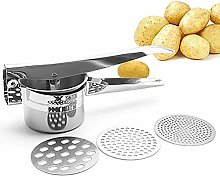 Stainless Steel Potato Ricer with 3 Ricing Discs,