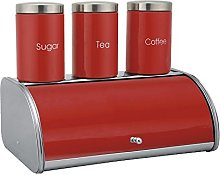 Stainless Steel Red Enamel Front Bread Bin and