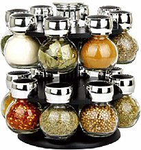 Stainless Steel Revolving Spice Rack with 16 Glass