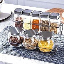 Stainless Steel Spice Rack,Kitchen Glass Spice Jar